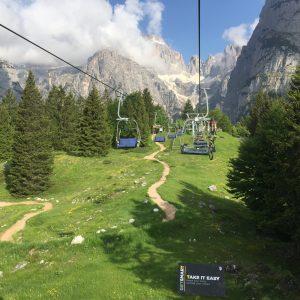 seggiova, trail Big Hero e dolomiti della Brenta sopra il bike park Paganella Molveno zone