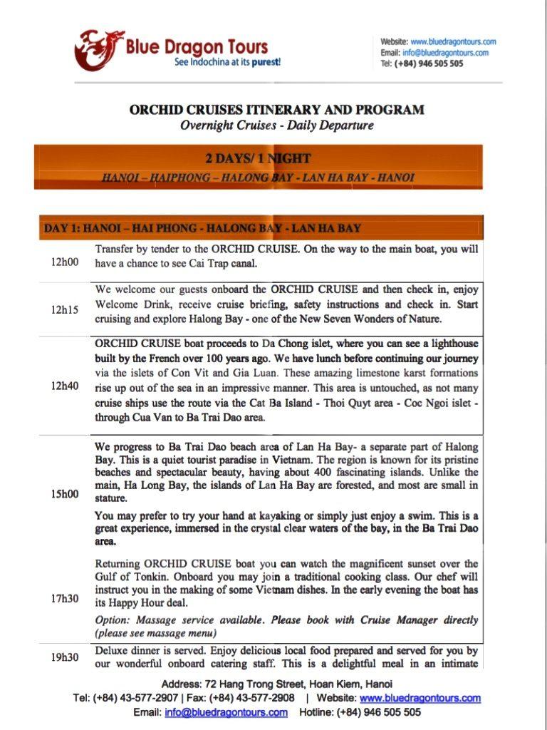 Programm der bevorstehenden Halong Bay Kreuzfahrt