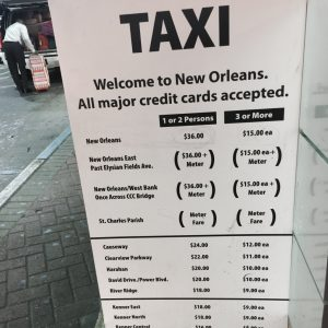 Taxi fares New Orleans airport