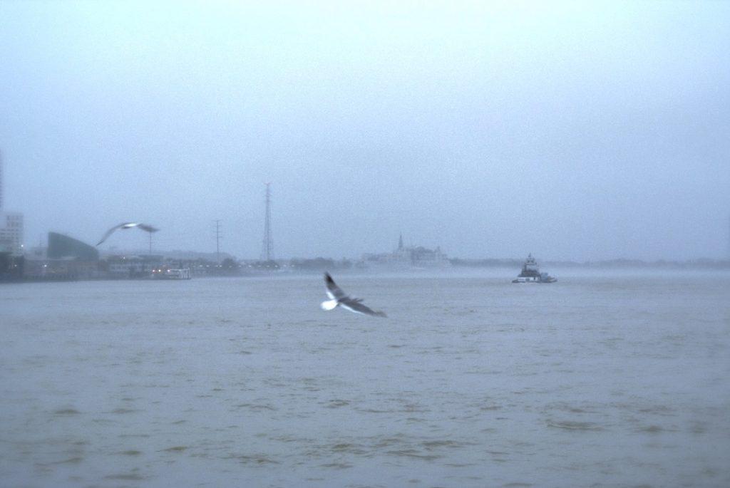 Verschwommene Sicht auf New Orleans bei starken Regen