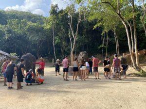 Besucher im Elephant Retirement Park bei der Sackvergabe