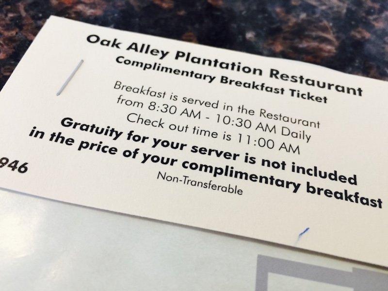 Frühstück - Ausflug und eine Nacht auf Oak Alley Plantation in Louisian