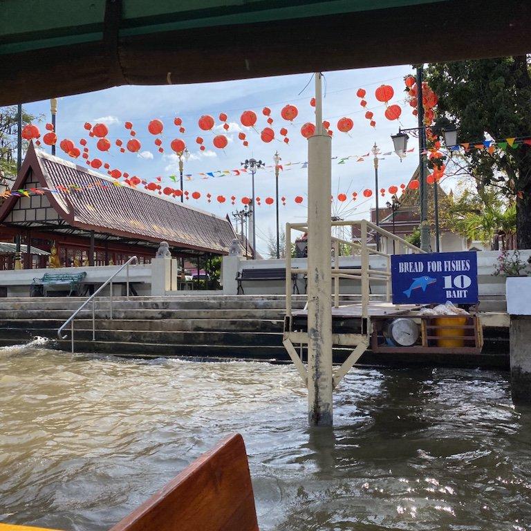 Highlights von Bangkok, auf dem Chao Praya, Ausflug und Fische füttern