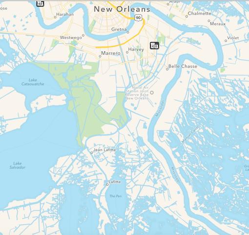 Louisiana, Karte des Südens