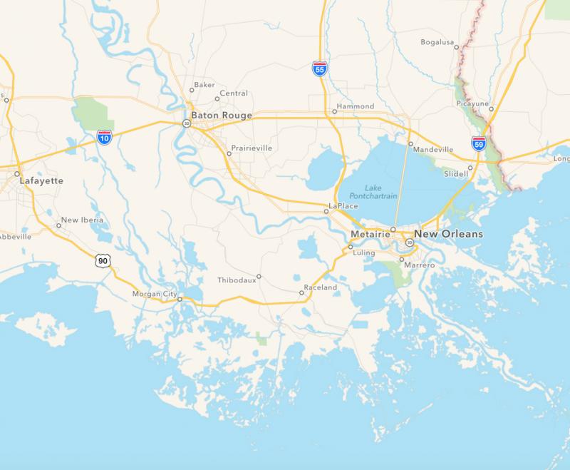 Karte von Louisiana im Süden