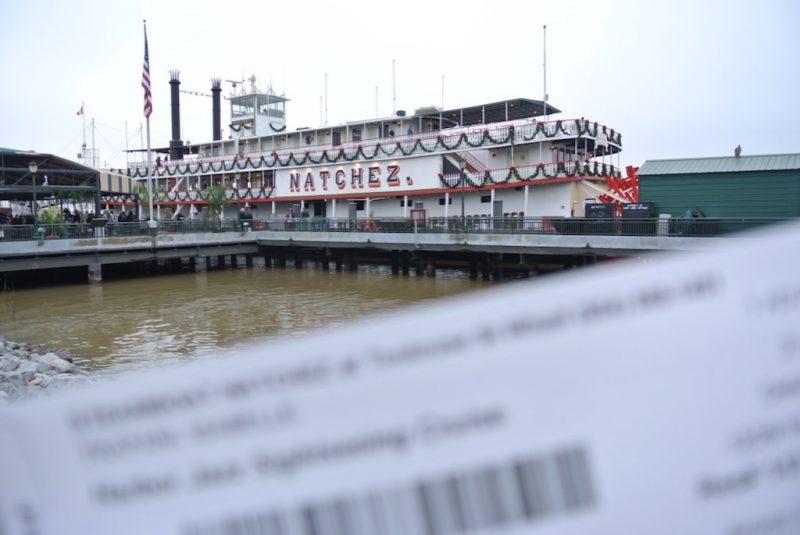 Blick auf das Dampfschiff Natchez in New Orleans