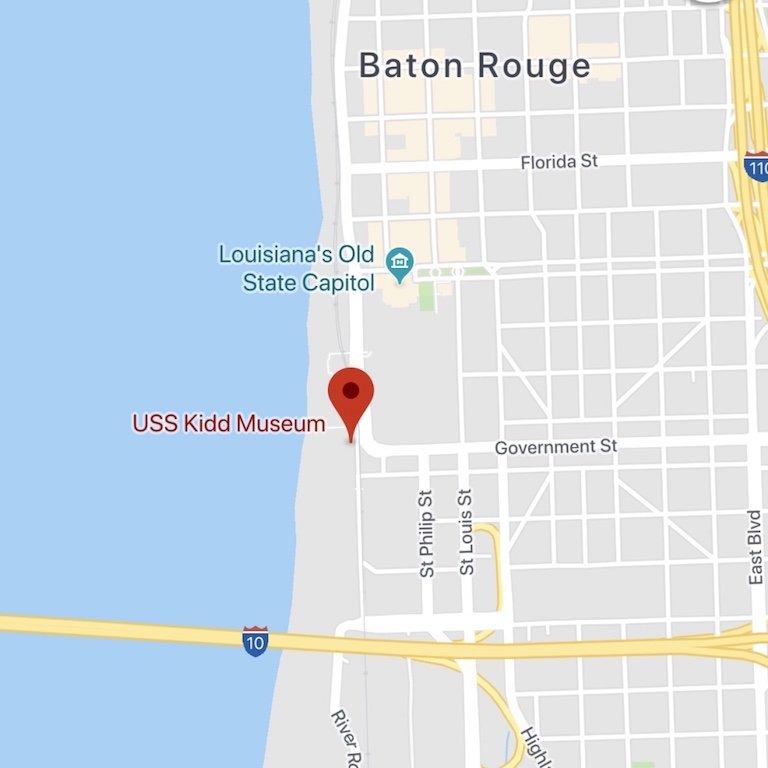 Radtrip durch Louisiana, Karte von USS Kidd