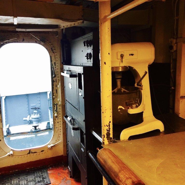 Kombüse auf dem Schiff USS Kidd in Baton Rouge, Louisian