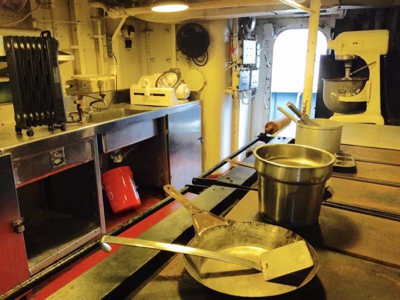 Kombüse auf dem Schiff USS Kidd in Baton Rouge, Louisiana
