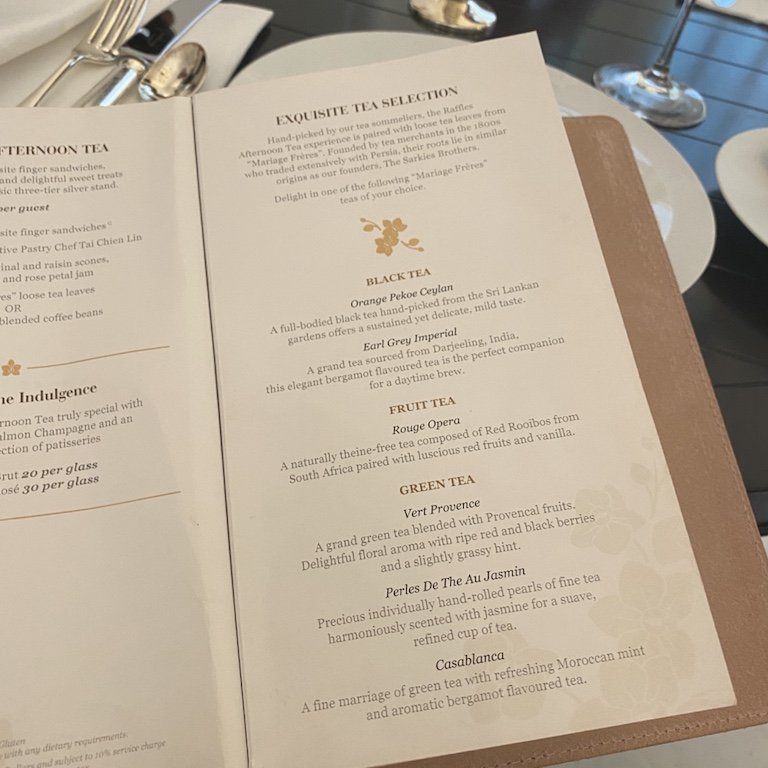 Raffles Afternoon Tee - Tisch Teeauswahl