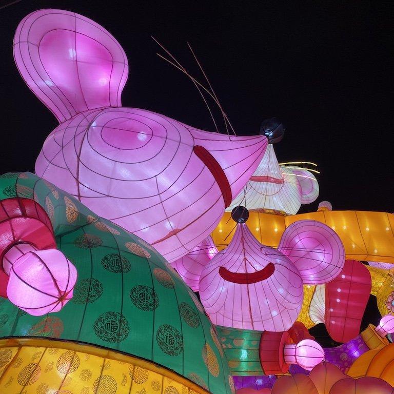 Aufblasbare Mäuse, eine Dekoration für das chinesische Neujahrsfest