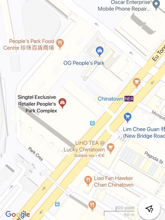 Karte von Sehenswürdigkeiten in Chinatown in Singapur