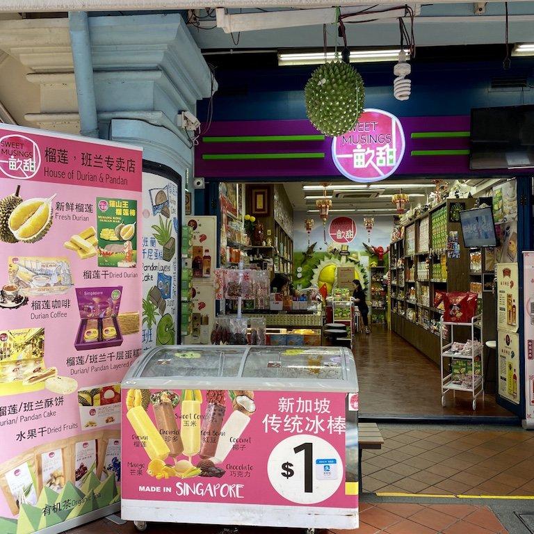 Geschäft für Durian in Chinatown