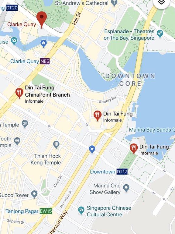 Karte von Sehenswürdigkeiten in und Din Tai Fung in Chinatown in Singapur