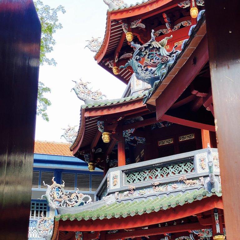 Detailansicht des Thian Hock Keng Tempel