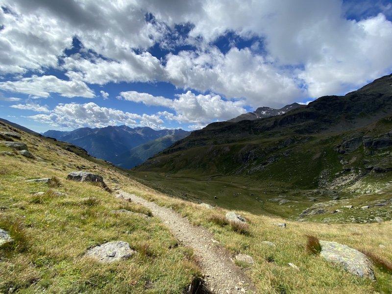 Aussicht Berge und Wolken im Stilfser Joch Nationalpark