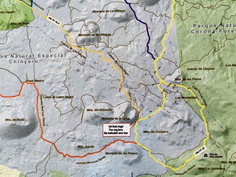 Tafel mit Wanderwege zum und um den Chinyero