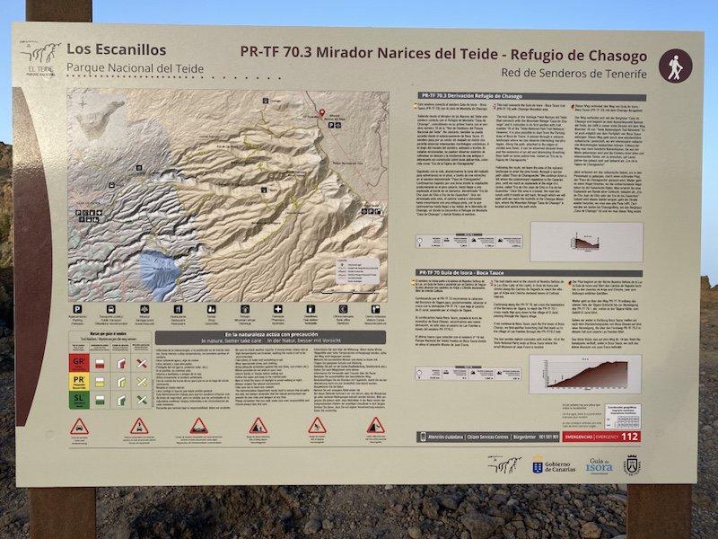 Schild beim Mirardor Narices del Teide