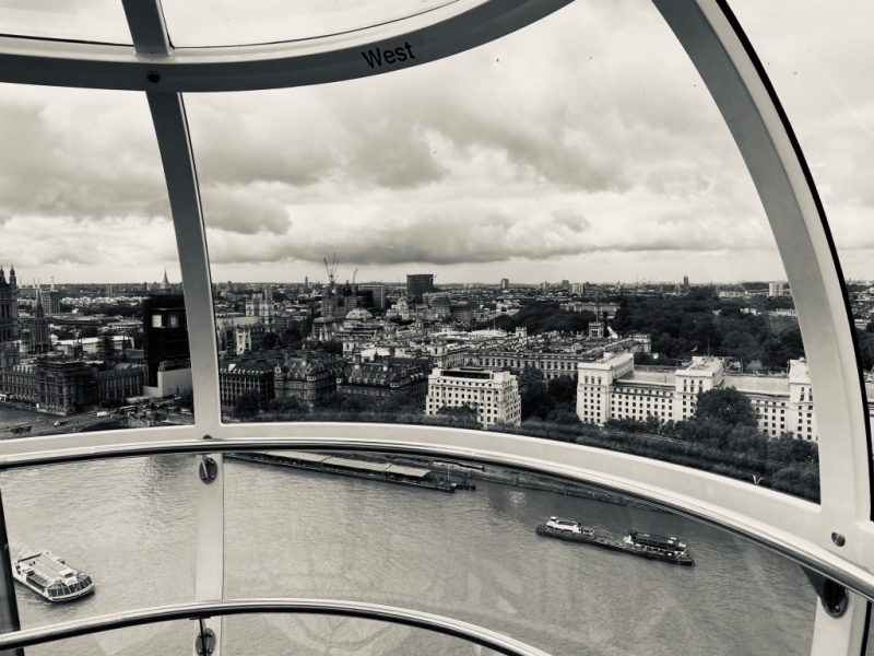 Blick aus London Eye Riesenrad Kapsel