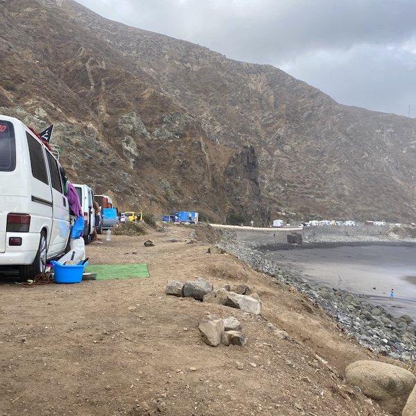 Camper am Almaciga Strand auf Teneriffa