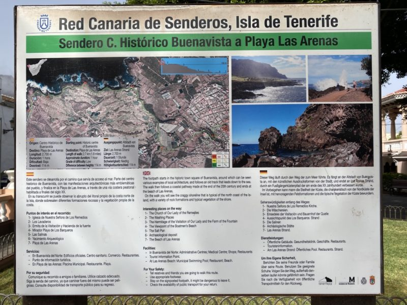 Schild Sendero Buenavista a Playa Las Arenas