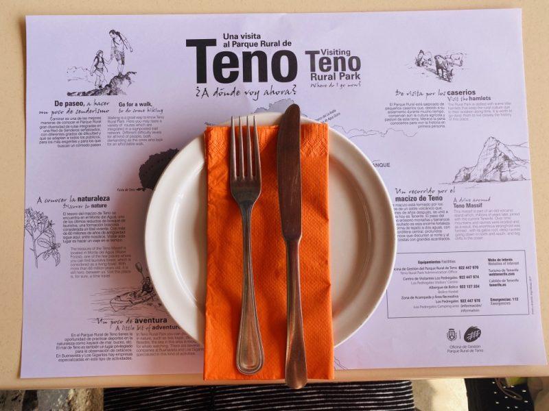 Tischset im Restaurant im Teno Gebirges