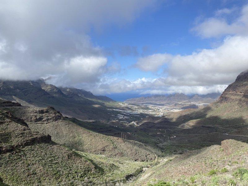 Ausblick auf Meer und La Aldea auf Gran Canaria